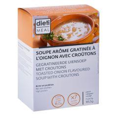 Préparation instantanée pour soupe gratinée à l'oignon avec croûtons riche en protéines