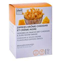 Chips zippers arôme cheddar riche en protéines végétales. Dietisnack