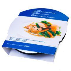 Plat minceur aiguillettes de poulet à l'estragon riche en protéines.