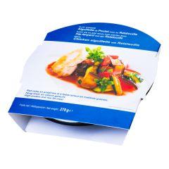 Aiguillette de poulet et ratatouille plat minceur riche en protéines.