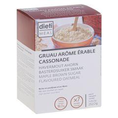 Préparation pour gruau arôme érable cassonade riche en protéines et en fibres.