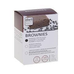 Dietisnack brownie protéiné chocolat blanc aux pépites de framboise et fève de cacao.