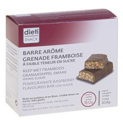 Dietisnack barre arôme grenade framboise riche en protéines, sans gluten.