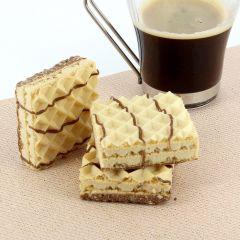 Gaufrette arôme beurre de cacahuète riche en protéines.